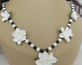 Necklace,Beaded,Flowers,White,Handmade,Cold Porcelain,Gift for Her