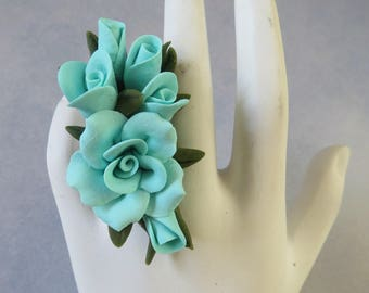 Ring,Adjustable,Handmade,Cold Porcelain,Floral,Flowers,Turquois,Durable,Gift for Her
