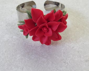Bracelet,silver cuff,handmade flowers,red,cold porcelain,durable,gift