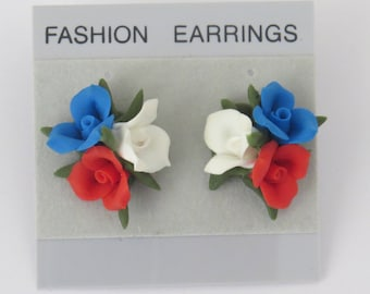 Stud Earrings,Floral,Red, White and Blue,Handmade,Cold Porcelain,Durable,Gift for Her