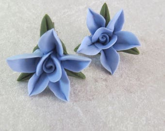 Clip on  Earrings, Blue,Floral,Cold Porcelain,Gift for her