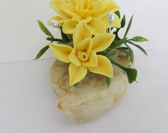 Gratitude Rock,Handmade Flowers,Cold Porcelain,Yellow,Decorative Accent,Gift,