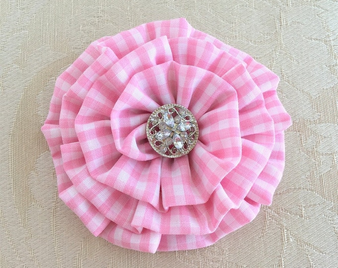 Pink and White Gingham Flower Hair Clip or Brooch Pin