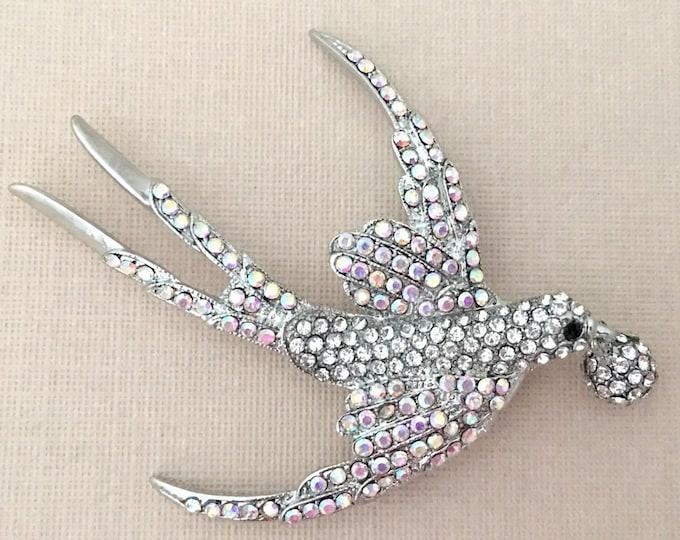 Aurora Borealis & Platinum Sparrow Brooch Pin