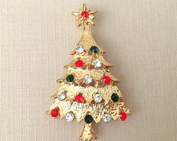 Red, Green, Gold Christmas Tree Brooch Pin. Vintage style.