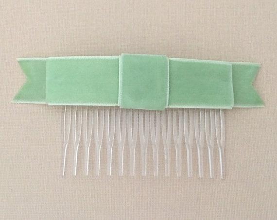 Light Green Velvet Bow Hair Comb