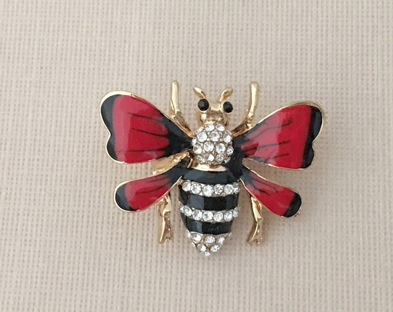 Red & Black Enamel Bee Brooch Pin and Pendant