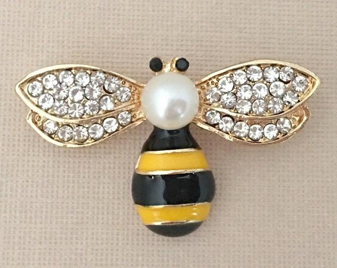 Yellow & Black Enamel Bee Brooch Pin