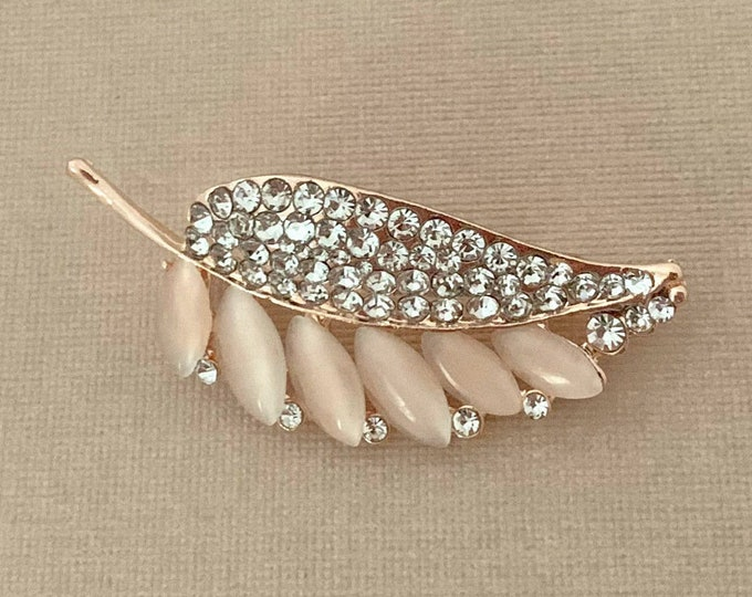 Rose Gold Rhinestone Leaf Brooch Pin