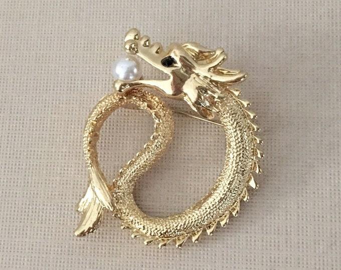 Gold Dragon Brooch Pin