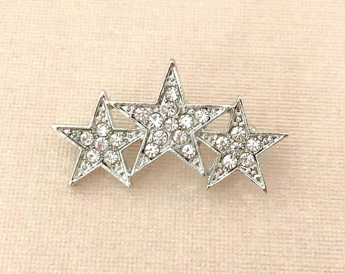 Rhinestone Platinum Star Brooch Pin