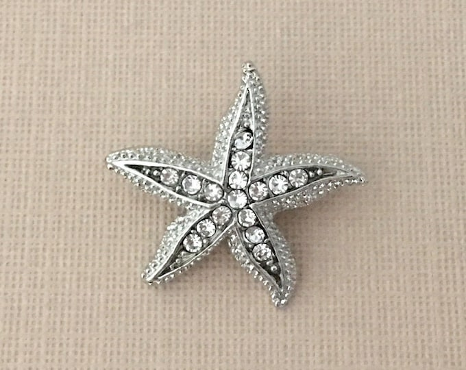 Rhinestone Starfish Lapel Pin