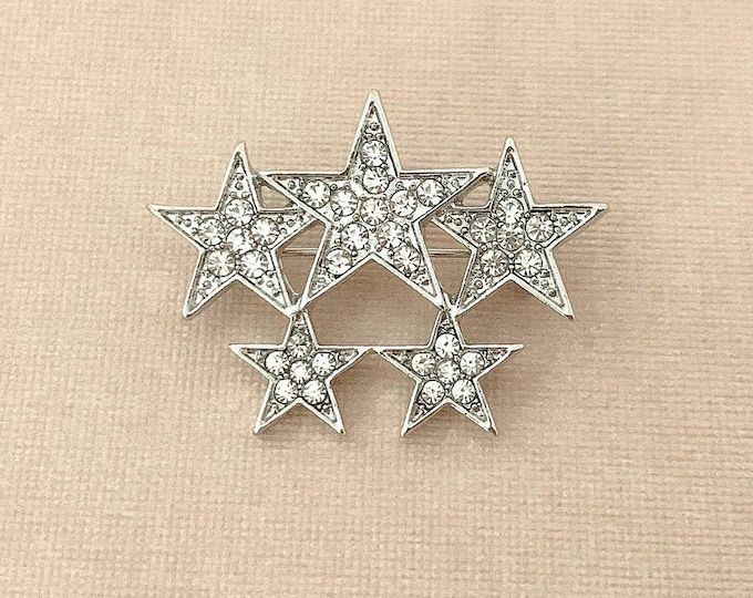 Rhinestone Star Brooch Pin