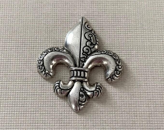 Silver Fleur de Lis Lapel Pin (clutch pin)