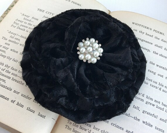 Large Black Velvet Flower Hair Clip and/or Brooch Pin. Choose Button or Bead Finish. Handmade.