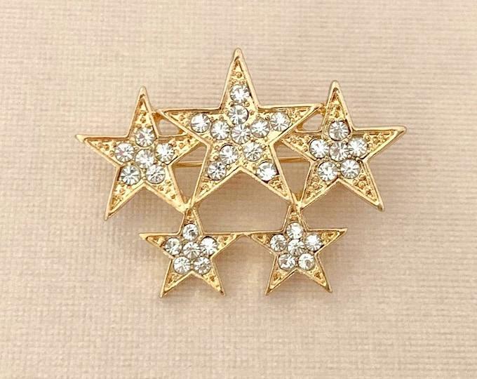 Gold Rhinestone Star Brooch Pin