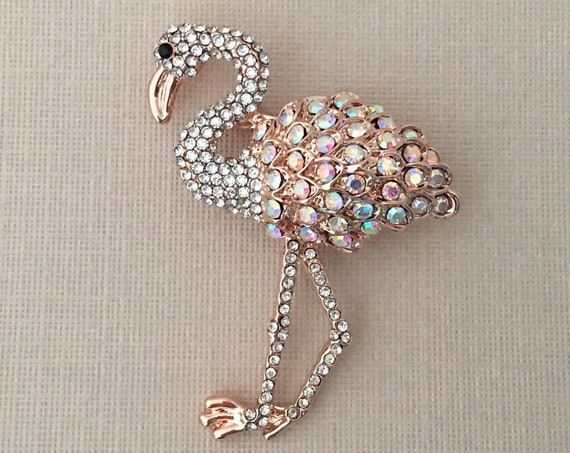 Rose Gold Flamingo Rhinestone Brooch Pin
