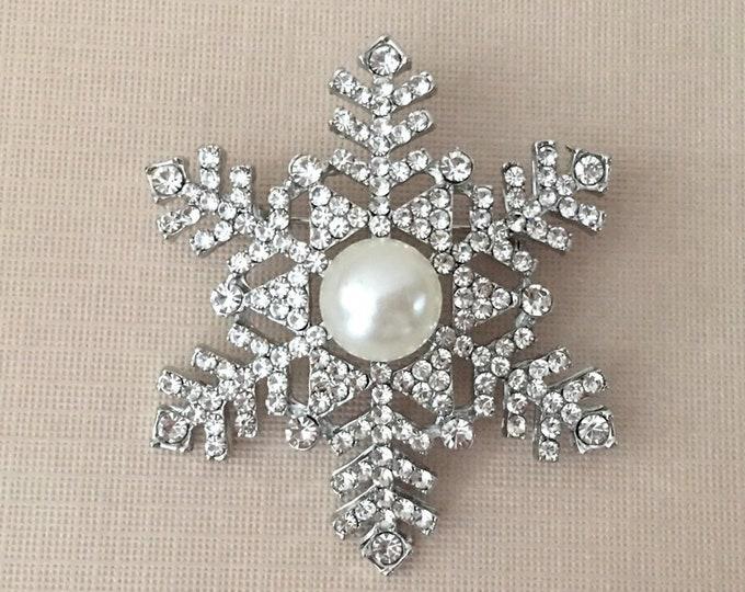 Pearl, Rhinestone, & Platinum Snowflake Brooch Pin