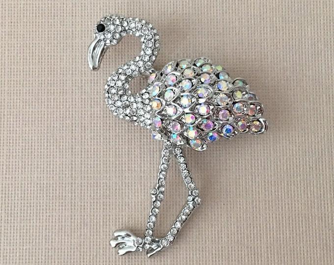 Aurora Borealis & Silver Flamingo Brooch Pin