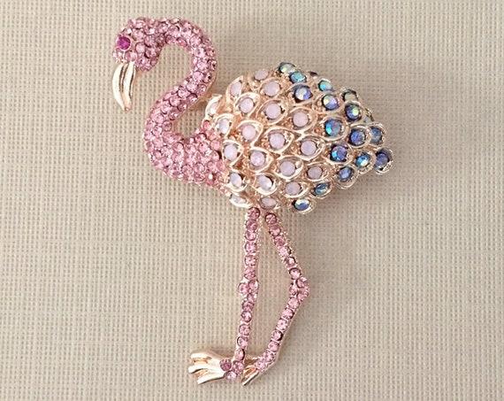 Pink Rhinestone Flamingo Brooch Pin