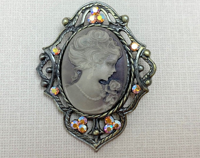 Vintage Style Cameo Rhinestone Brooch Pin