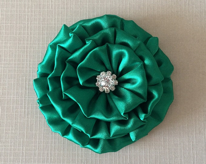 Emerald Green Flower Hair Piece and/or Brooch Pin. Choose your button/bead finish. Handmade.