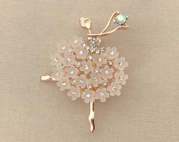 ROSE GOLD Ballerina Rhinestone Brooch Pin