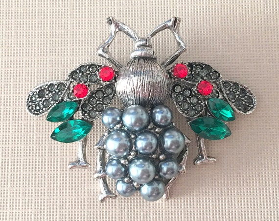 Red, Green, Gray Bee Pearl Brooch Pin & Pendant