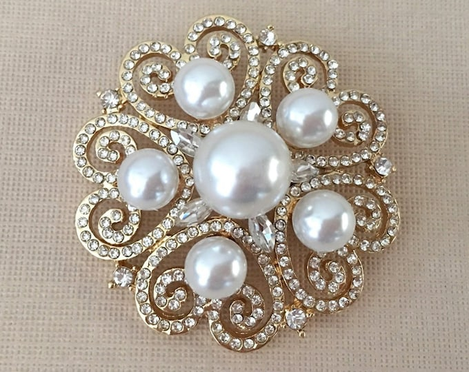Gold Pearl Rhinestone Bridal Brooch Pin