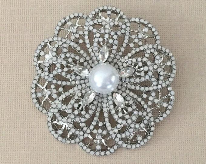 Faux Moonstone Flower Brooch Pin