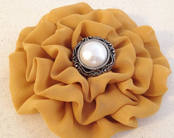 Antique Gold Fabric Flower Hair Clip and/or Brooch Pin. Choose your button/bead finish. Handmade. Dark Gold Flower.