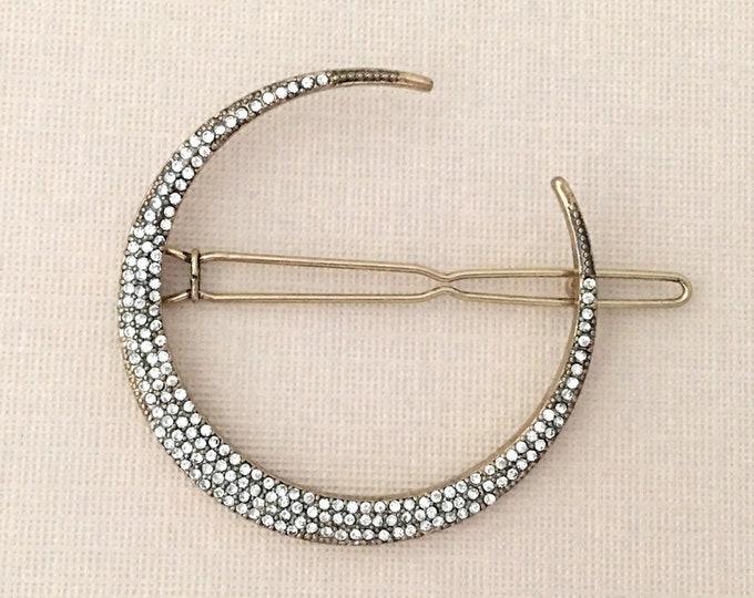 Antique Gold Crescent Moon Hair Clip.Antique Gold Crescent Moon Barrette.Crescent Moon Rhinestone Barrette.Moon Crystal Hair Clip.Wedding