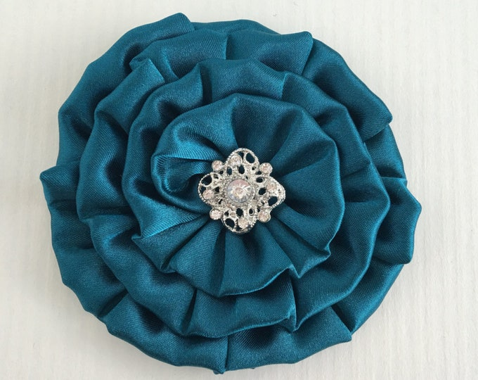 Teal Satin Fabric Flower Hair Clip and/or Brooch Pin. Choose your button/bead finish. Handmade.
