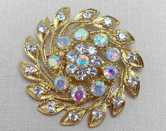 Gold & Rhinestone Sunburst Brooch Pin