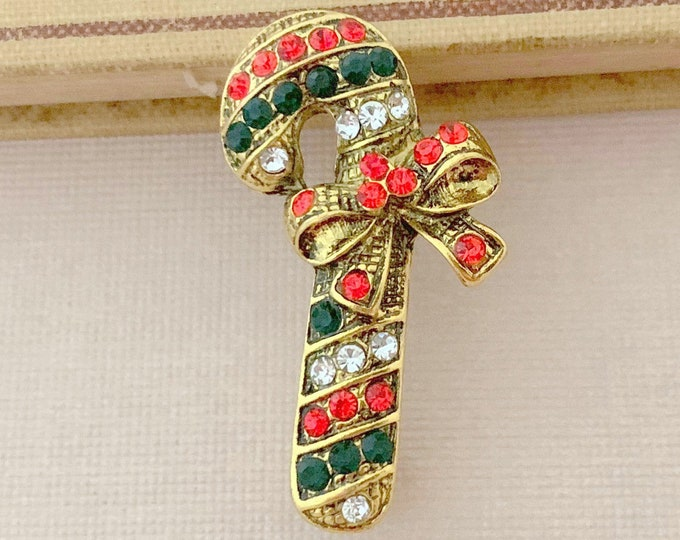 Red Green Candy Cane Brooch Pin. Vintage Style.