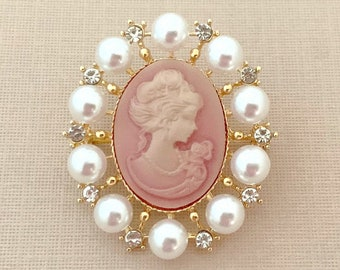 Cameo Brooch for Women Angel Jewelry Angel Brooch Angel Gift Gift for Mom Pink Cameo Brooch Pin or Pendant