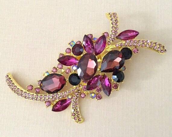 Purple & Gold Rhinestone Brooch.SLIGHT SECONDS*.Purple Gold Crystal Brooch.Large Purple Rhinestone Brooch.Purple Wedding Brooch Pin.Broach