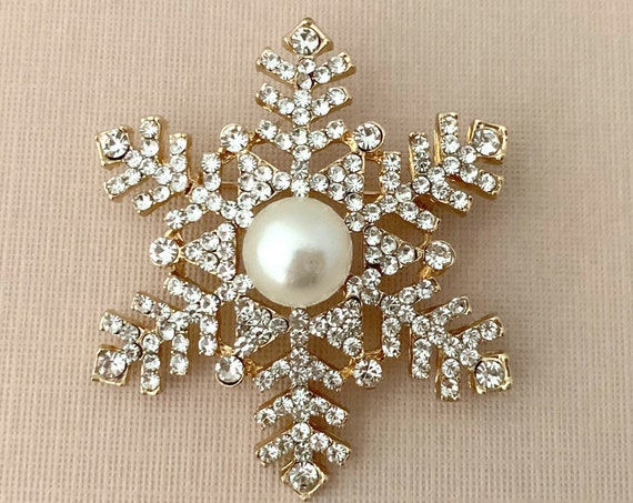 Pearl, Rhinestone, & Gold Snowflake Brooch Pin