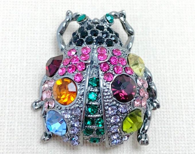 Ladybug Rhinestone Brooch Pin