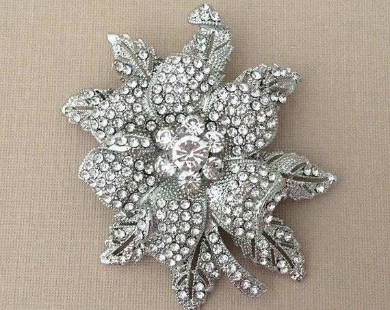 Rhinestone Flower Brooch Pin