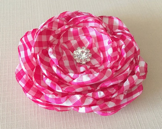 Hot Pink & White Gingham Flower Brooch Pin or Hair Clip