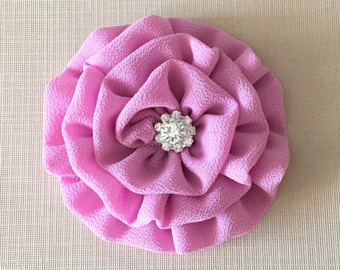 Orchid Color Flower Brooch Pin and/or Hair Clip. Choose your button/bead finish. Handmade.