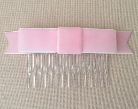 Light Pink Velvet Ribbon Bow Hair Comb