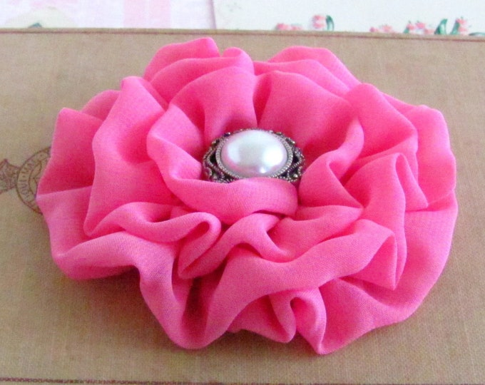 Pink Chiffon Fabric Flower Hair Clip or Brooch Pin. Choose button/bead finish. Handmade.