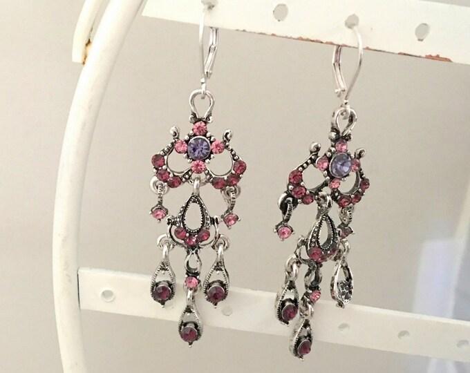 Purple Rhinestone & Silver Earrings