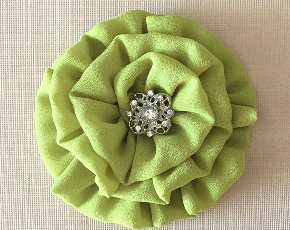 Chartreuse Green Flower Brooch Pin and/or Hair Clip. Choose your button/bead finish. Handmade.