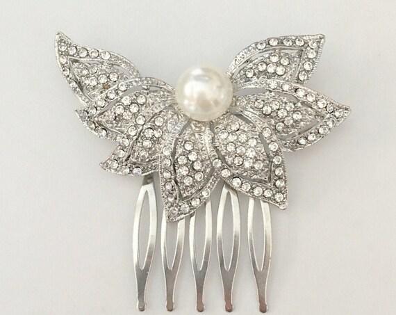 Art Deco Pearl Rhinestone Hair Comb