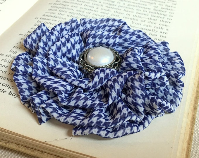Navy White Flower Houndstooth Hair Clip and or Brooch Pin. Choose button/bead finish. Handmade.