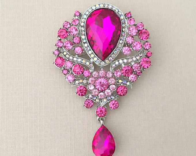 Pink Rhinestone & Crystal Brooch Pin. SLIGHT SECONDS JEWELRY*