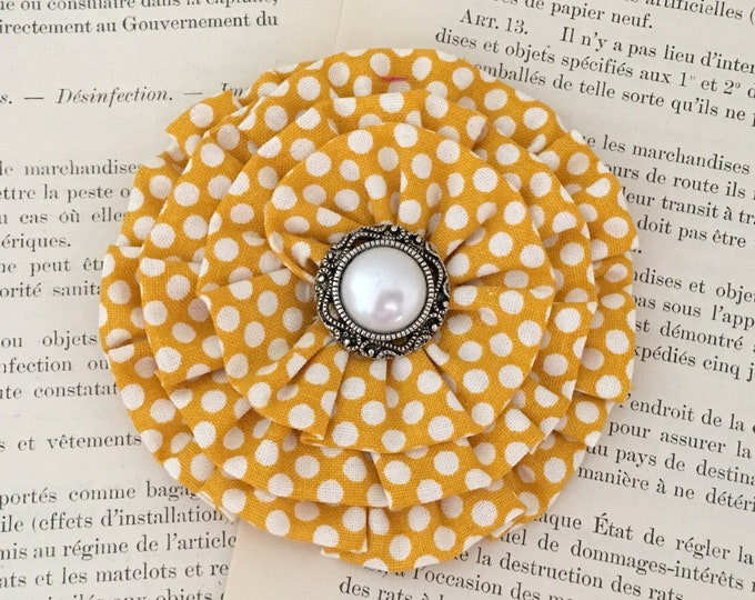 Mustard & Ivory Polka Dot Flower Hair Clip and/or Brooch Pin